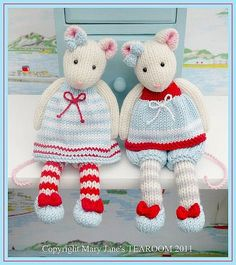 2 TEAROOM Mice Toy Knitting Pattern/ MJT Pdf Mouse Knitting