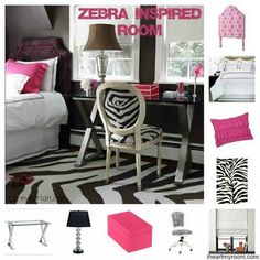 Zebra Print Bedroom Ideas- sub pink for Tiffany blue