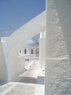 Megalochori village on Santorini island