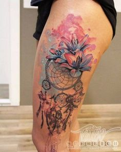 Gorgeous... Watercolor dream catcher tattoos.