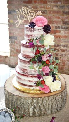 Naked red velvet wedding cake