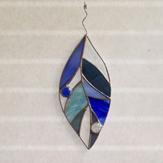 Stained glass blue leaf suncatcher, stain glass leaf sun catcher, leaves, autumn, fall time by FoxStainedGlass on Etsy