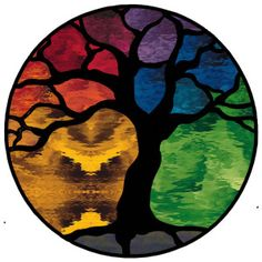"""Tree of Life"" stained glass panel, with rainbow colors"