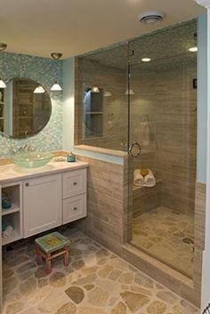 Small Basement Bathroom, Beach House Bathroom, Beach Bathrooms, Relaxing Bathroom, Bathroom Plumbing, Cabin Bathrooms, Narrow Bathroom, Small Bathrooms, Coastal Bathrooms