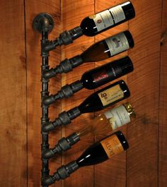 Industrial pipe style wine holder