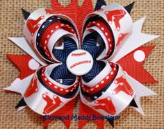 Boston Red Sox Hair Bow by SissyAndMaddy on Etsy, $8.00