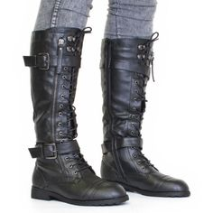WOMENS KNEE HIGH LACE UP MILITARY ARMY COMBAT BOOTS SIZE 3-8 ❤ liked on Polyvore