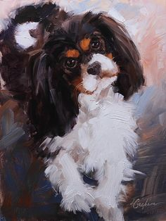 Dash od Lindsey Bittner Graham, Oil, 12 x 9 Cavalier King Charles Dog, King Charles Spaniel, Dog Illustration, Illustrations, Pencil Drawings Of Animals, Spaniel Puppies, Dog Portraits, Animal Paintings, Dog Art