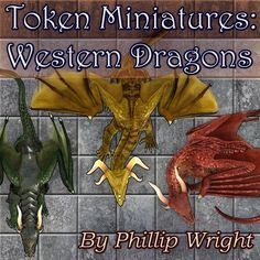 High quality Dragon Tokens for use as miniatures in virtual RPG TableTop services.  Includes basic dragon flights from D&D and Pathfinder RPG settings.