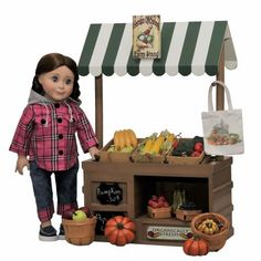 Complete 18 In Doll Wooden Roadside Farm stand w/ Fresh Fruit, Veggies, Wooden Crates & Canvas Shopping Bag & Doll Clothes Outfit, Blue