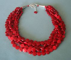 Red Statement NecklaceChunky MultiStrand Twisted  by stellaart