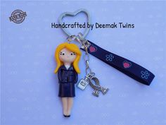 Blonde Girl Keychain by DeemakTwins on Etsy
