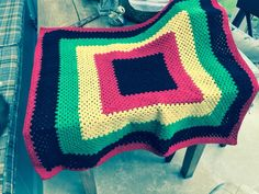Rasta Blanket progressing for Glastonbury 2015. Rico Merino Wool June 2015
