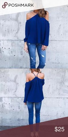"""Cold Shoulder Top Hey ladies!!! Look at these tops. Off the shoulder hanging neck. Has button on back that button.Elastic at top for a good stretch at bust. These can be classy , sexy or casual.  Polyester material   Large: bust 37"""" to 40""""             Length 26"""" Bewitched Boutique Tops Tees - Long Sleeve"""