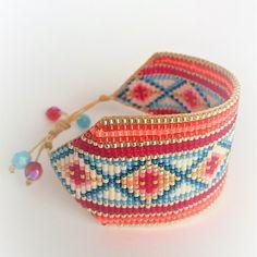Cuff Bracelet handmade with high quality Miyuki Japanese beads. Bead Embroidery Patterns, Seed Bead Patterns, Beaded Jewelry Patterns, Beaded Braclets, Bead Loom Bracelets, Loom Bracelet Patterns, Friendship Bracelet Patterns, Seed Bead Jewelry, Bead Jewellery