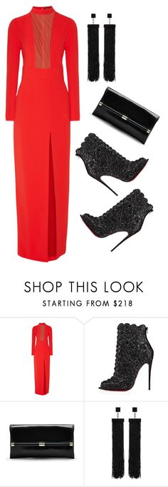 """""""Red Gown"""" by ashola18 ❤ liked on Polyvore featuring Tom Ford, Christian Louboutin, Diane Von Furstenberg, women's clothing, women's fashion, women, female, woman, misses and juniors"""
