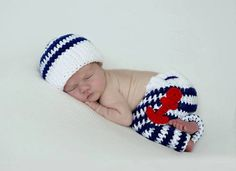 new crochet Newborn Striped sailor hat, with Anchors pants baby sets, baby Beanies newborn Photography Props 100% cotton