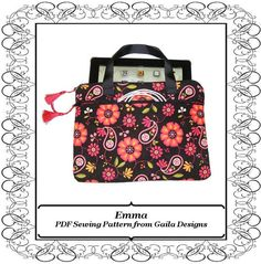 """iPad 1, 2, 3or 4 case cover PDF sewing pattern tablet Kindle HD 10"""" padded handles zipper pocket """"Emma"""" on Etsy, $6.00"""