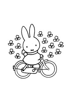 Nijntje Pluis on her bike (by Dick Bruna)