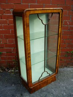 Antique Scottish Art Deco Walnut China Display Curio Cabinet ...