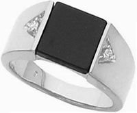Platinum Man's Diamond and Onyx Ring