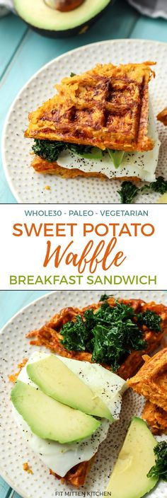 Healthy Recipes This is a traditional combo but made into a fun hash style waffle sandwich! - Get your waffle irons out for this Sweet Potato Waffle Breakfast Sandwich. Five simple ingredients combined for one epic paleo sandwich. Breakfast And Brunch, Whole 30 Breakfast, Paleo Breakfast, Breakfast Ideas, Healthy Breakfast Sandwiches, Breakfast Fruit, Mexican Breakfast, Breakfast Potatoes, Breakfast Pizza