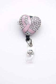 Breast Cancer Awareness Pink Ribbon Rhinestone Retractable Badge Reel / ID Badge Holder Great for Nurses, Teachers, Clerks