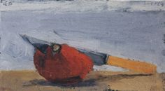 Knife and Tomato II, Richard Diebenkorn.  Oil on Wood Panel. 1963