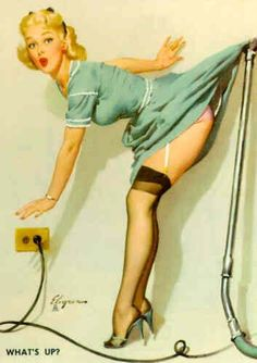 """Handprinted Cotton Art Reprodn Applique Vintage Sexy Pin-up Girl Gil Elvgren """"What's Up? Pin Up Vintage, Retro Pin Up, Vintage Woman, Vintage Glamour, Retro Vintage, Gil Elvgren, Pin Up Illustration, Pin Up Pictures, Pin Up Photos"""