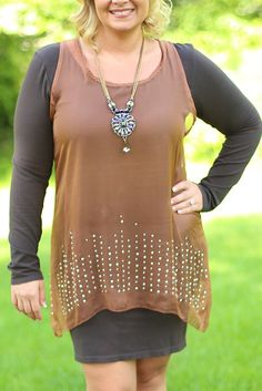 Leaves A Little Sparkle Tunic - Curvy