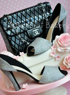 purse cakes made in england | shoe box, quilted Chanel bag and sugarpaste glittery high heels with ...