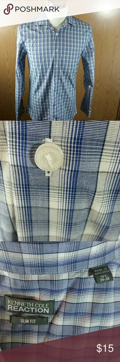 Kenneth Cole Reaction Slim Fit 15 1/2-34/35 This handsome Kenneth Cole Reaction Slim Fit blue and white checkered shirt features buttons with logo. Small hole on back (see photo ). Good condition. Kenneth Cole Reaction Shirts Dress Shirts