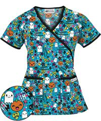 holiday scrubs are a great way to put smiles on your patients faces the fun sweet halloween turquoise mock wrap scrub top is exclusively at ua - Halloween Scrubs Uniforms
