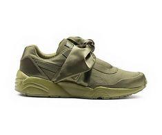 new styles c300e 004b0 vendre Femme Fenty Puma By Rihanna BOW Sneakers Olive Branch Kaki 365054 04 Pas  Cher France