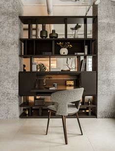 Do you want a hidden desk? Closed storage cabinets, LED lighting, or back panels? You can have it all, plus an amazing room divider with… Room Divider Shelves, Living Room Divider, Living Room Partition, Living Room Storage, Room Dividers, Divider Cabinet, Resource Furniture, Plywood Furniture, Furniture Design