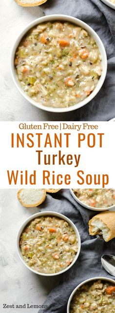 A thick and creamy soup for this winter seaso… Instant Pot Turkey Wild Rice Soup. A thick and creamy soup for this winter season, and perfect for using leftover Thanksgiving turkey! – Zest and Lemons Instant Pot Pressure Cooker, Pressure Cooker Recipes, Pressure Cooking, Healthy Soup Recipes, Cooking Recipes, Aloo Recipes, Rice Recipes, Healthy Food, Recipies