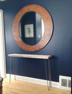 Wood table with iron hairpin legs