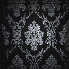 Silver on Black Damask Wallpaper Roll - Top Quality Wall Paper!