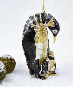 Cloisonne Articulate Penguin Family Ornament