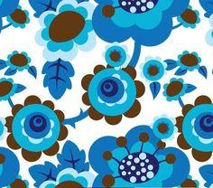 ? - retro Blumen türkis