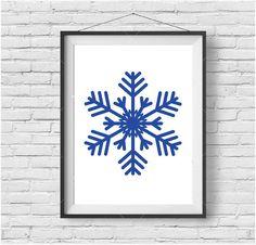 Cobalt Blue Snowflake Art Snowflake Print Scandinavian Print Winter Wall Art Christmas Decor Christmas Print Minimalist Snowflake Poster