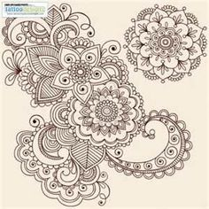 Hand Drawn Intricate Abstract Flowers And Mandala Mehndi Henna Tattoo