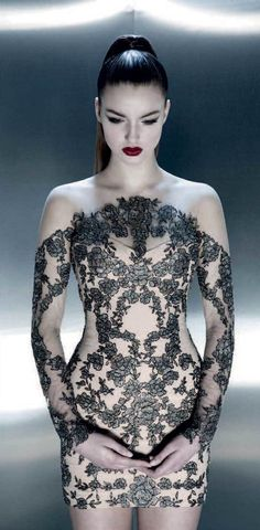 Pavoni Collection » PREFALL 2013 pretty except the neckline. It would be cuter with straight across on the black lace