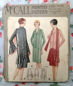 Antique 20s McCall 5105 Dress Sewing Pattern Vintage Flapper Bell Sleeve Bust 42 | eBay