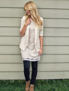 Rusitc lace dress and dark leggings