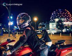 Sporty Girls with helmet lights.