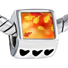 Pugster Beautiful Yellow Red Leaves Photo Bead Heart Beads Fits Pandora Charm Bracelet Pugster. $12.49. Size (mm): 7.60*9.10*10.10. Color: Yellow, red. Weight (gram): 4.20. Metal: Metal