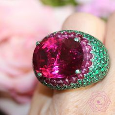 likeabCan't take my eyes out of You.... 30,40 ct Rubellite & emerald ring by…
