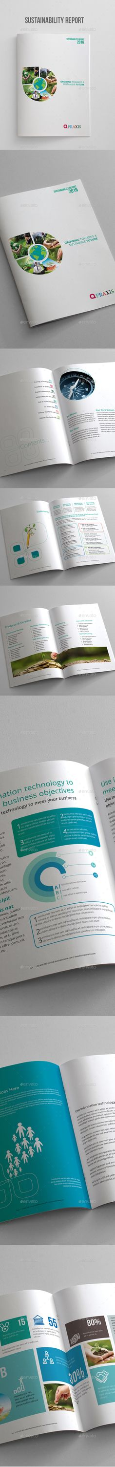 Sustainability Report Brochure — InDesign INDD #brochure #print • Available here → https://graphicriver.net/item/sustainability-report-brochure/17378244?ref=pxcr