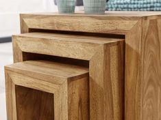 Wohnling 3er Set Beistelltisch WL1.440 aus Akazie Massivholz #Wohnidee #Holz #Set #Satztisch #Dekoration #Flur #Wohnzimmer #Holz